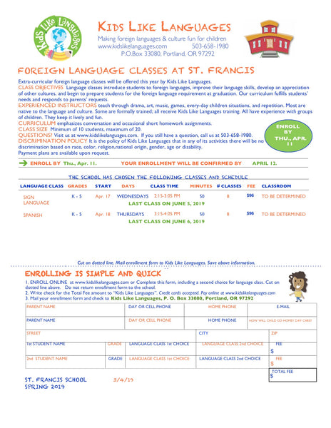 Spanish or Mandarin After School Program at St. Francis School
