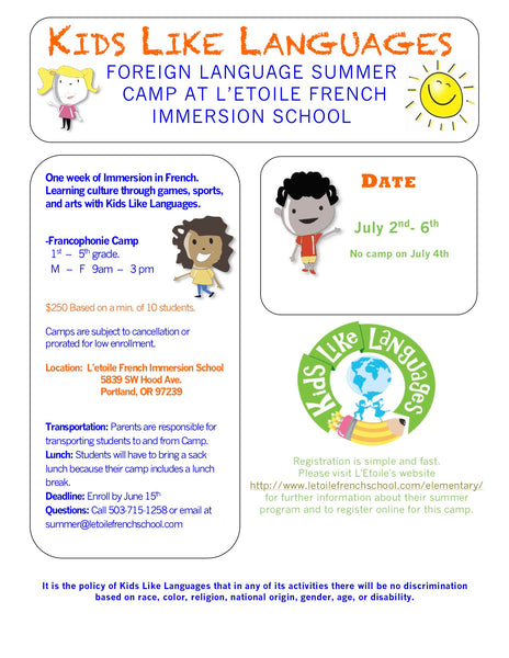 FRENCH SUMMER CAMP AT L'ETOILE