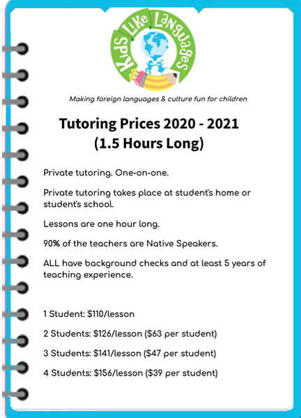 Tutoring for Individual and small groups (Class Length: 1.5 hours)