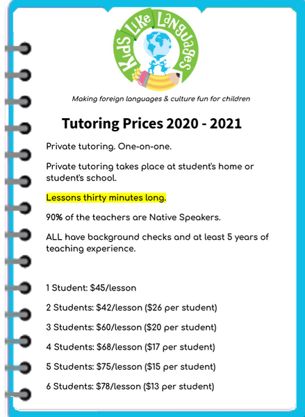 Tutoring for Individual and small groups (Class Length: 30 min long)