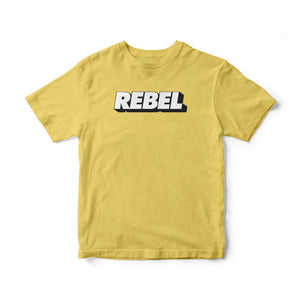 Rebel—Blk on Yellow T-Shirt