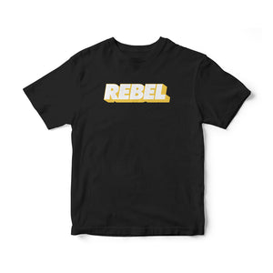 Rebel—Yellow on Blk T-Shirt
