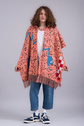 SNIPPET HOODED PONCHO