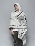 Reptilectric White Hooded Poncho