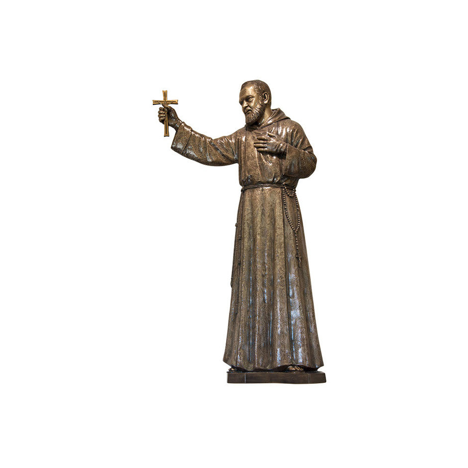 St. Padre Pio with Crucifix Relief - Global Bronze