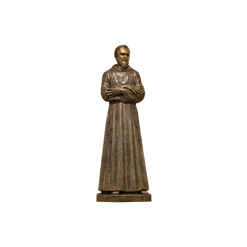 St. Padre Pio with Early Stigmata Relief - Global Bronze