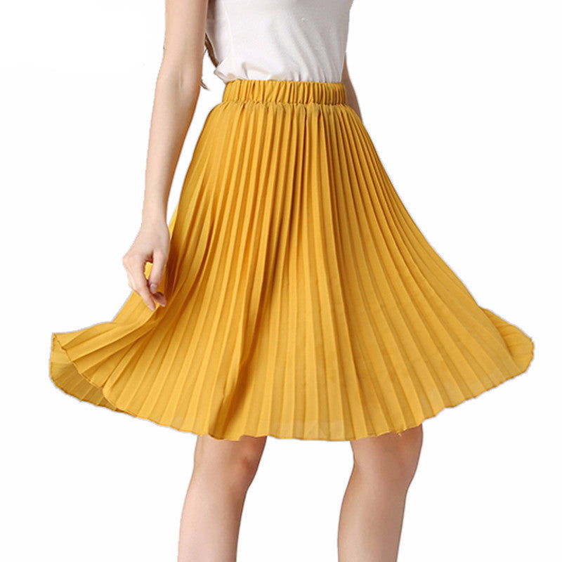 New 2016 Summer Women Chiffon Skirts Casual Solid Pleated Skirt ladies 8 Colors European and American Fashion Style SK1115 - Glamour Holik