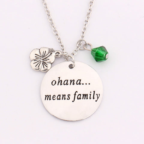 """Ohana Means Family"" Charm Necklace"