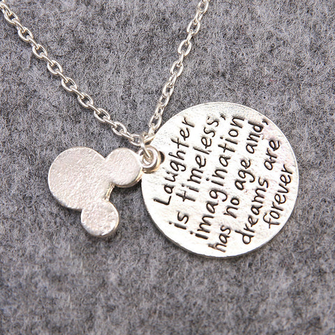 """Laughter is Timeless"" Quote Necklace"