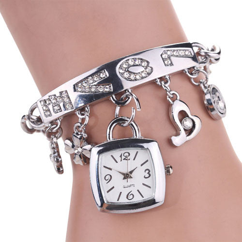 Love Rhinestone Bracelet Watch Silver/Gold