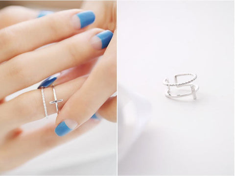 925 Silver Cross Crystal Ring