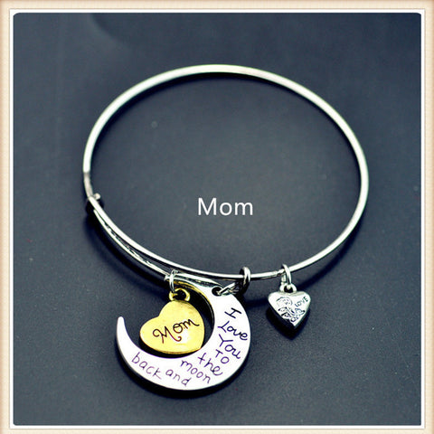 """I Love You To The Moon And Back"" Bracelet Collection (All family members)"
