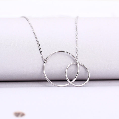 925 Sterling Silver Double Circles Necklace