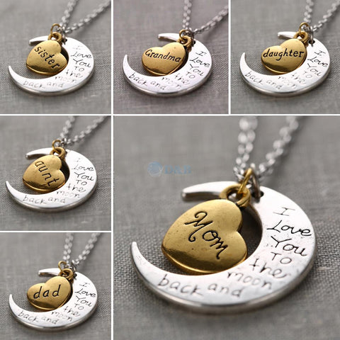 """I Love You To The Moon And Back"" Necklace Collection (All family members)"