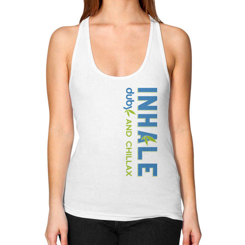 Inhale Racerback Tank White Duby Swag Shop
