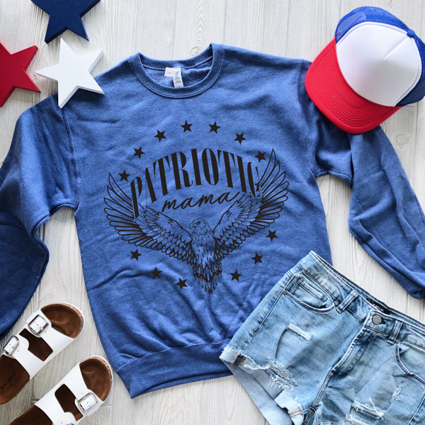 Patriotic Mama • Heather Blue Pullover