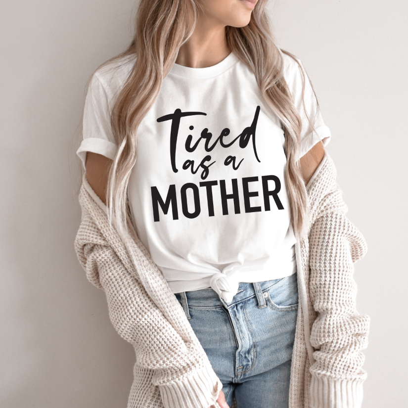 Tired Script • White Tee