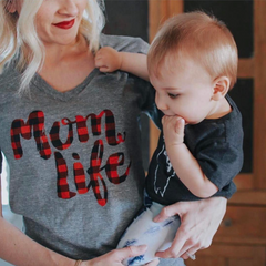 Mom Life Plaid Tee
