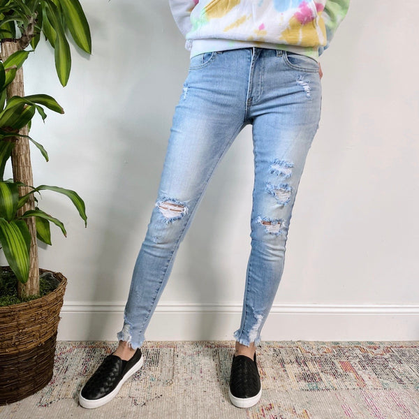 Heavily Distressed Ankle Skinny Jeans