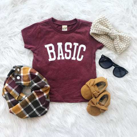 Kids BASIC Tee • Maroon