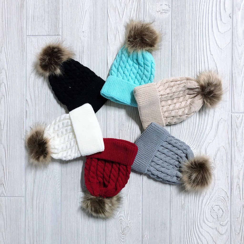 Cable Knit Pom Beanie • Infant