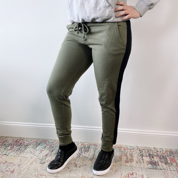 Olive Side Stripe • Joggers