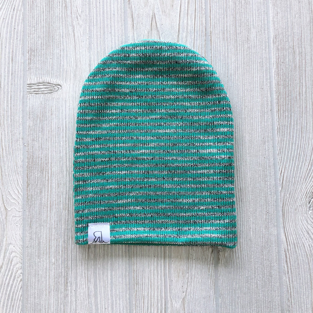 Green Sparkle Stripe Beanie