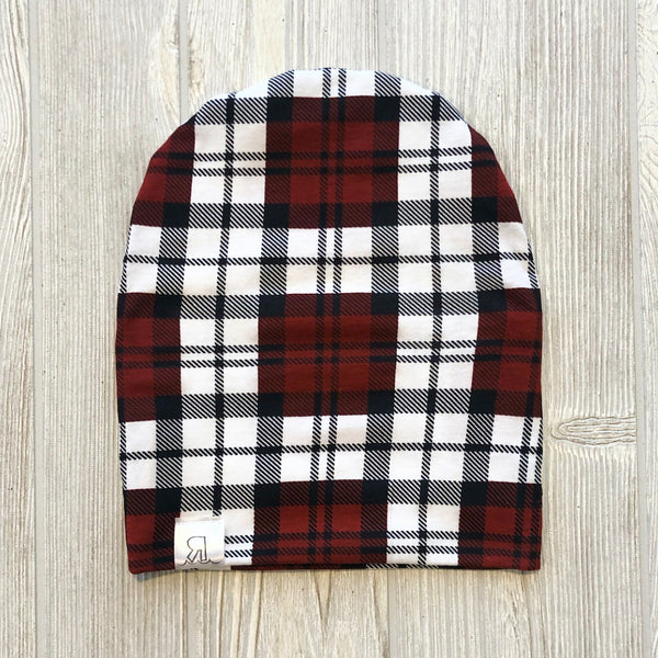 Burnt Red Plaid Beanie