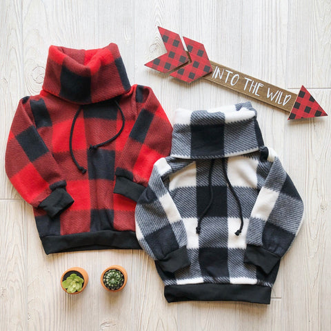 Monochrome Plaid Fleece Cowl • Kids!
