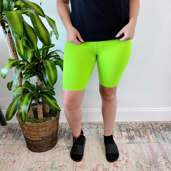 Lime • Brushed Biker Shorts