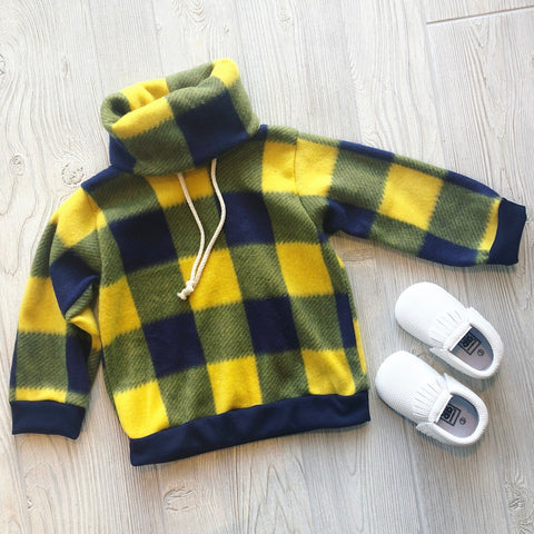 Maize & Blue Plaid Fleece Cowl • Kids!