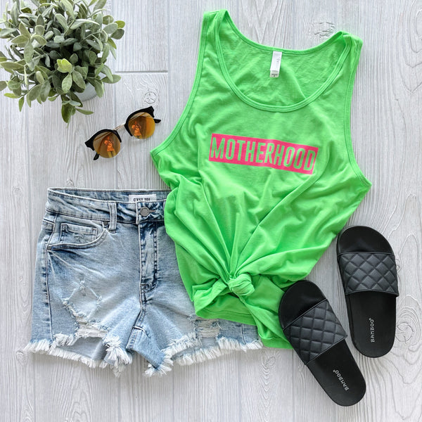 MOTHERHOOD • Neon Green Unisex Tank