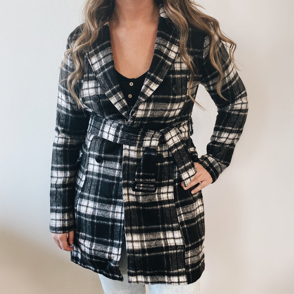 White Plaid Trench