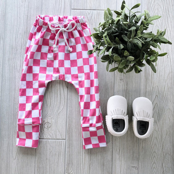 Pink Checkered Cotton Harems