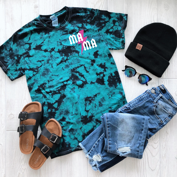 MA⚡︎MA Left Chest • Teal Tie-Dye