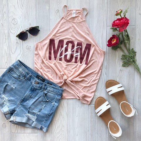 Mom Life Overlay Peach • High Neck Tank