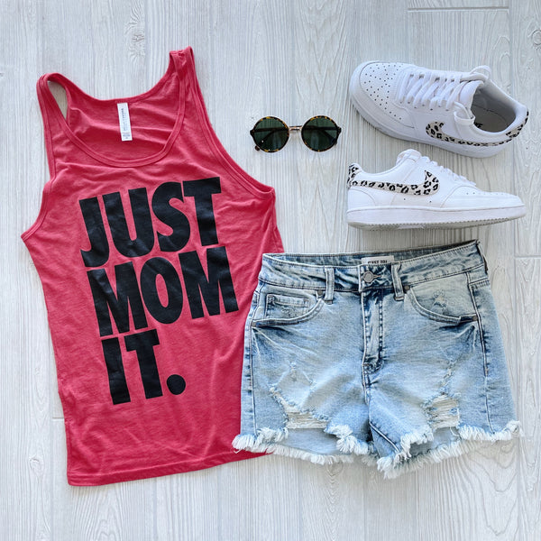 JUST MOM IT • Red Unisex Tank