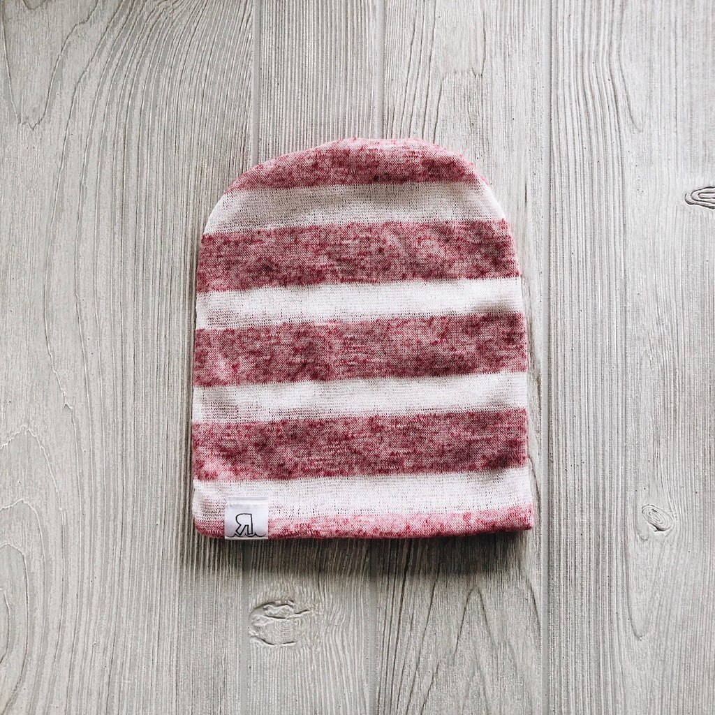 Heather Pink Striped Beanie