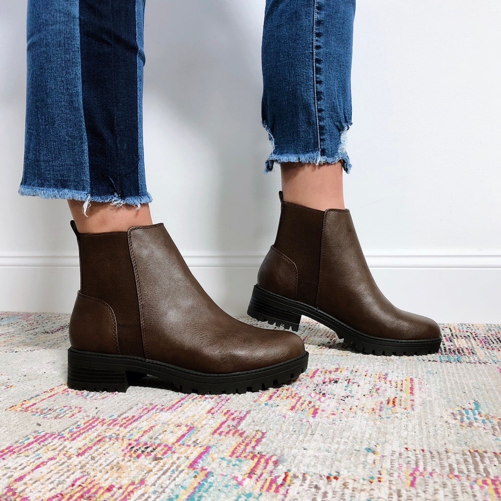 Brown Block Heel Ankle Boot • Adult
