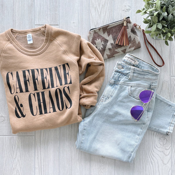 Caffeine & Chaos • Camel Pullover