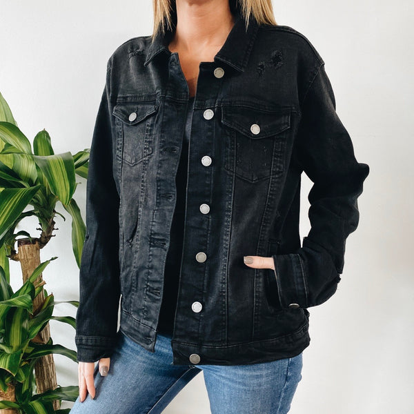 Black Distressed 90's Denim Jacket