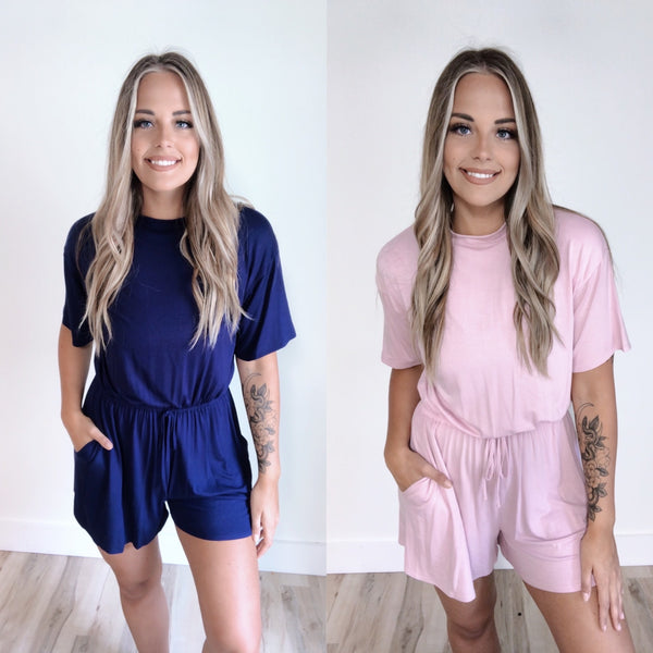 High Neck Short Sleeve Romper • More Colors!
