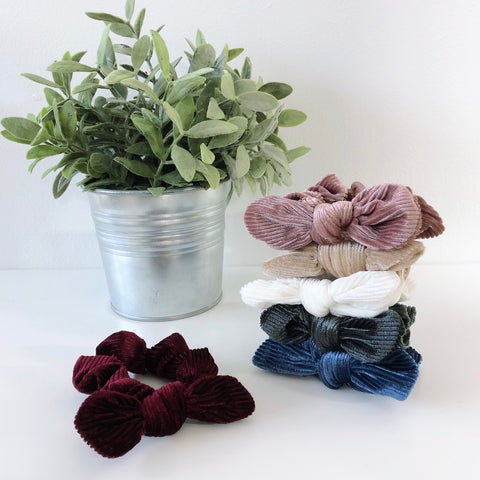 Mini Bow Corduroy Scrunchie