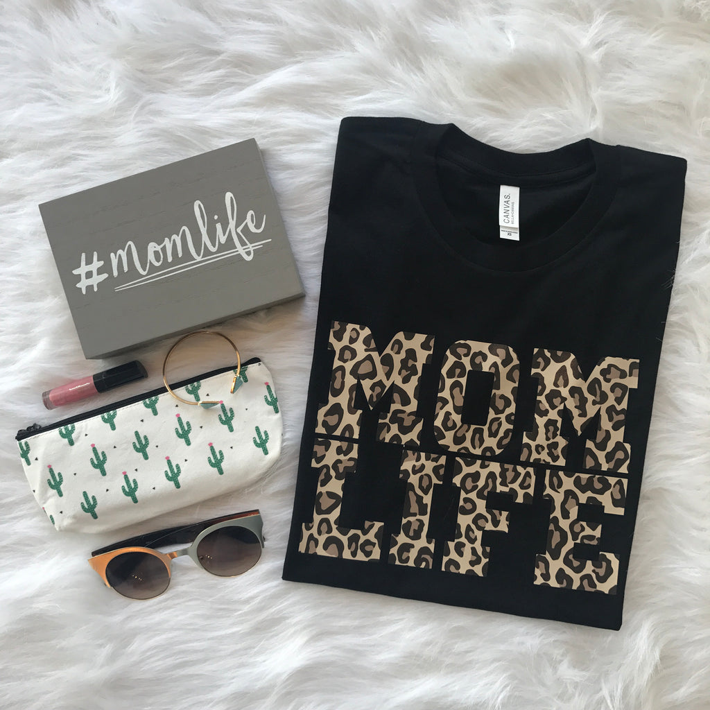 Mom Life Cheetah Tee