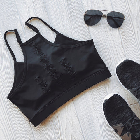 Woven Back • Sports Bra Black