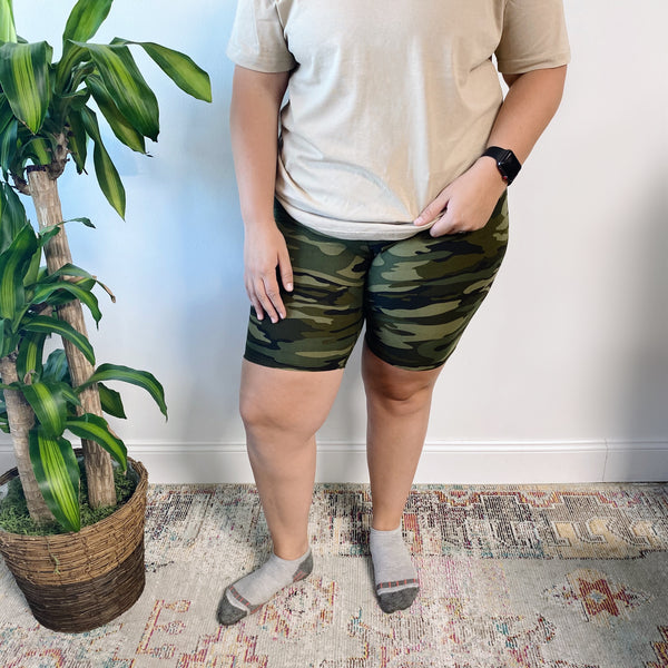 Green Camo • Plus Biker Shorts