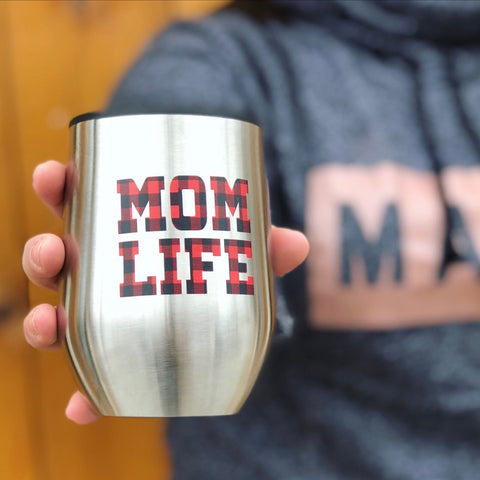 Mom Plaid • Wine Tumbler