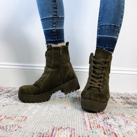 Olive Suede Combat Boots • Adult