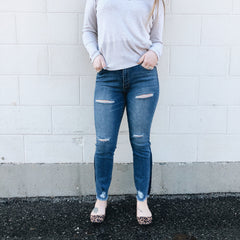 Distressed Ankle Jean Leggings
