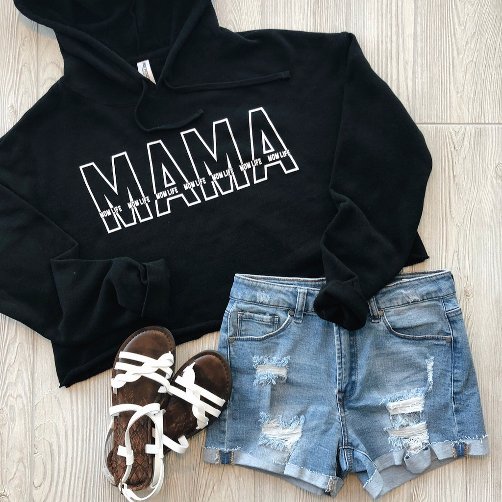 Layered Mama Crop Hoodie • Black